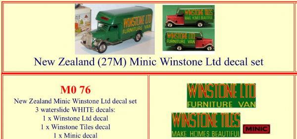 "M076 Tri-ang ( Triang ) Minic New Zealand 27M "" WINSTONE LTD - WINSTONE TILES "" Furniture Van decal set"